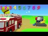 Мультфильмы 3D Считаем пожарные машины. Счет до 10. Развивающие мультики