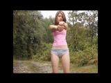 Erotic sport. Девушка на природе в трусиках и розовой футболочке (музыка Stellar - Marionette Inst.)
