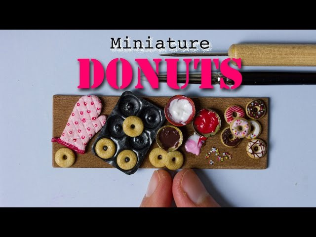 Miniature Donuts, Donut Pan and Oven Mitten Polymer Clay Miniature Food