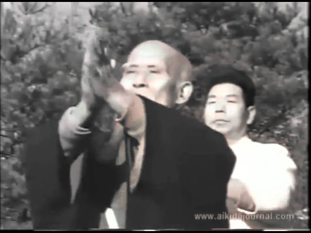 Morihei Ueshiba and Morihiro Saito in iwama 1964