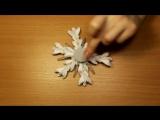 Как сделать снежинку Канзаши _ Snowflake Kanzashi (DIY)