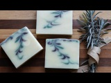 Homemade Natural Soap - Reverse Feather Swirl - Lavender Mint Coconut Milk Soap