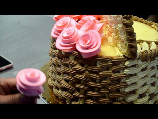 Украшение тортов | Украшение торта корзины с цветами из крема