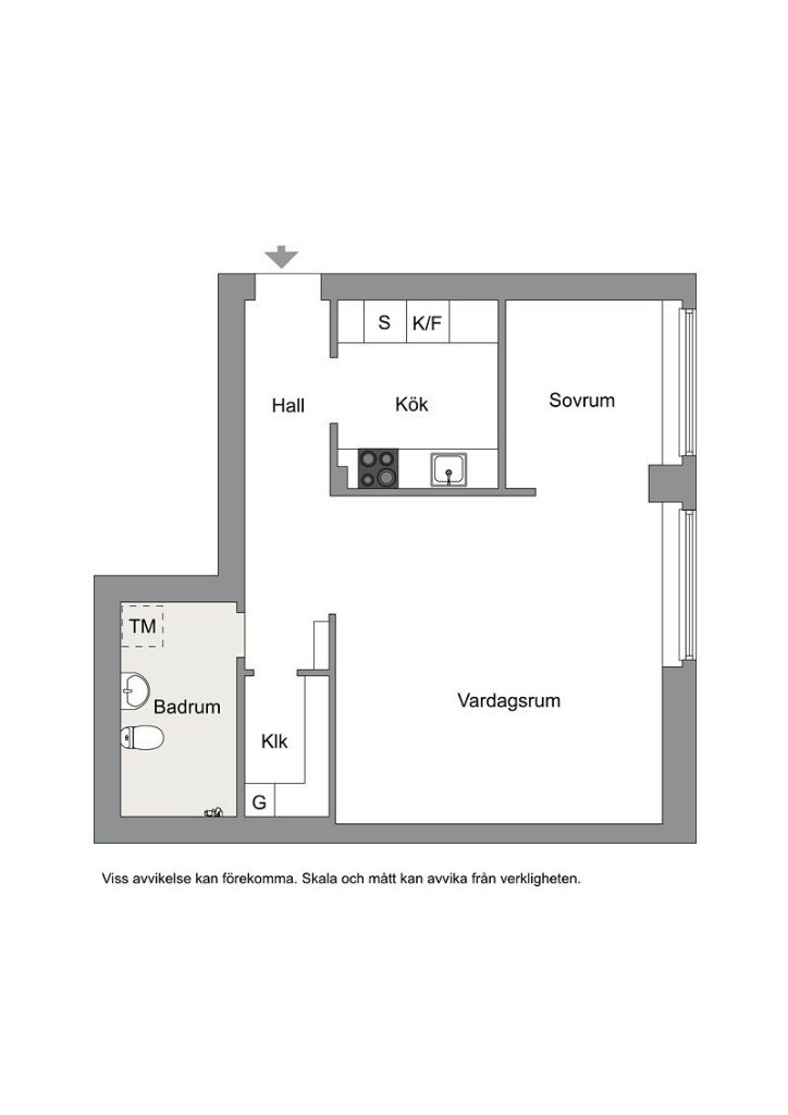 Интерьер квартиры 41 м с внутренним окном.