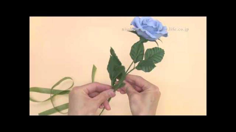 軽量粘土で作る バラの作り方1-6  花と葉の組み合わせ