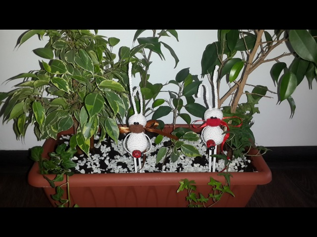 Амигуруми МК для начинающих зайки цветочники
