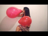 BALLOON POP CHALLENGE: Hot Looner Girl Party Time. Blow Confetti Balloon to Pop, Sit To Pop.