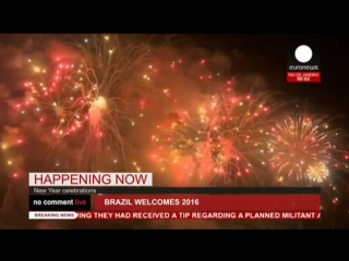 Новогодний салют в Рио-де-Жанейро 2016 (Бразилия)