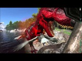 ARK Survival Evolved !! Alpha T-REX Получил по щам )