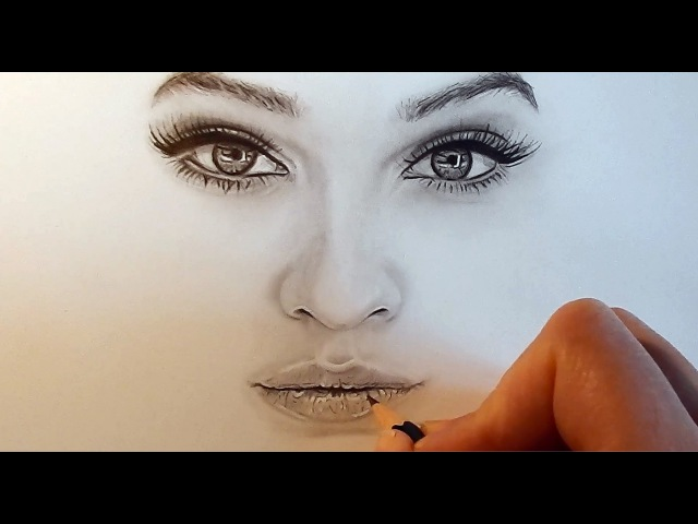 How to shade and draw realistic eyes, nose and lips with graphite pencils | Emmy Kalia