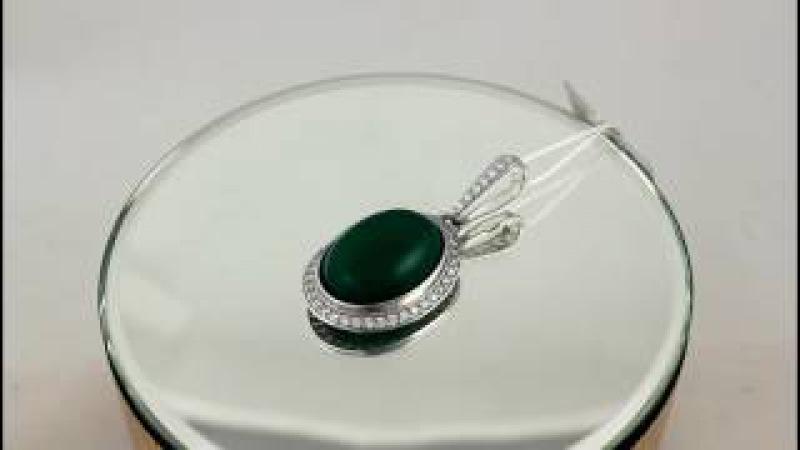 Серебряный подвес с вставкой Зеленый агат для женщин. 189090с