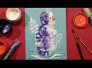 Speed Painting Snowman Greeting Card 3 Technique Monotype Gouache IOTN