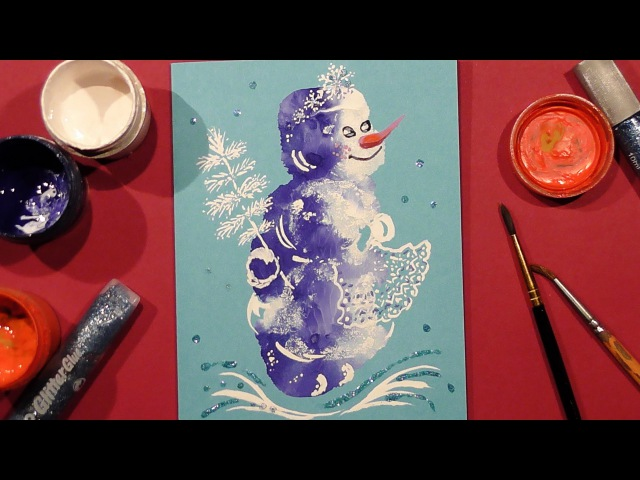 Speed Painting | Snowman Greeting Card 3 | Technique Monotype | Gouache | IOTN
