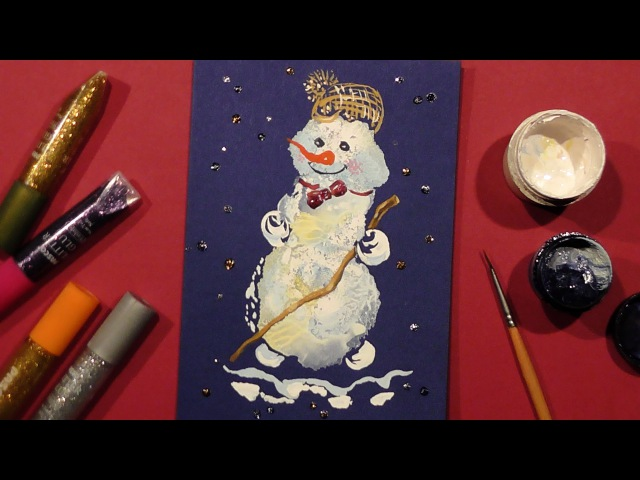 Speed Painting | Snowman Greeting Card 2 | Technique Monotype | Gouache | IOTN