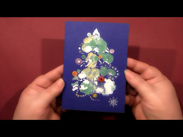 Speed Painting | Christmas Tree Greeting Card | Technique Monotype | Gouache | IOTN
