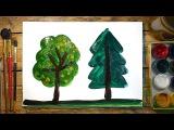 Как нарисовать 2 Дерева | Простые рисунки красками | Урок рисования для детей