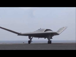 Fighting stealth drone X 47B Takeoff and landing on an aircraft carrier of the US Navy