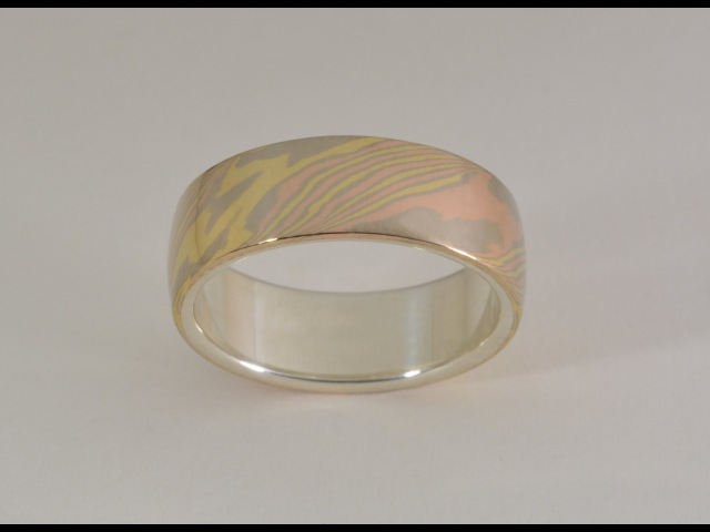 Masterworks Jewellery - Trigold Mokume Gane Ring with Sterling Silver Liner