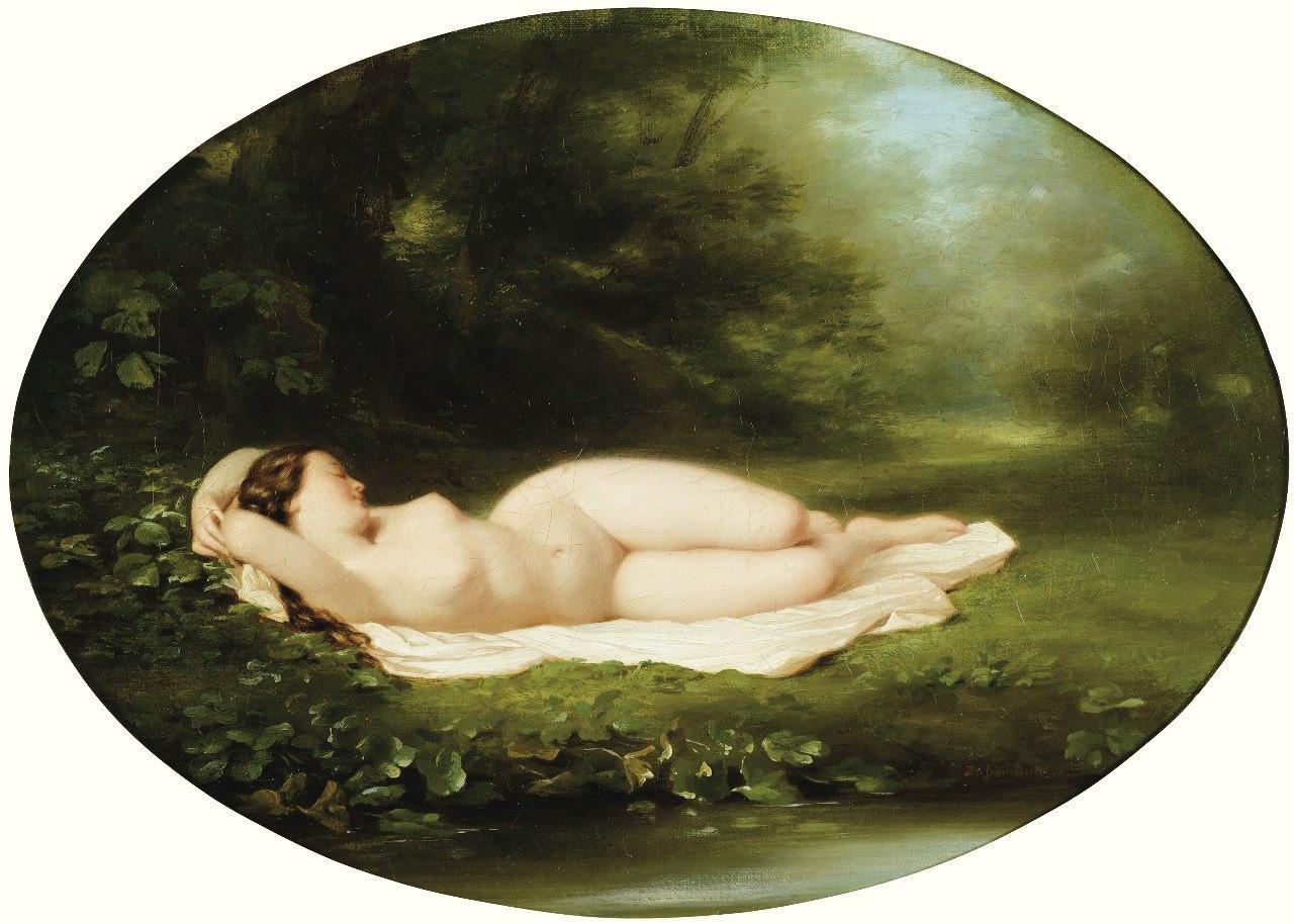 Fritz Zuber-Buhler, 1822-1896 Спящая купальщица.