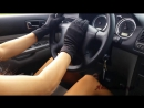 ANIA driving in gold high heels tan pantyhose feet gloves