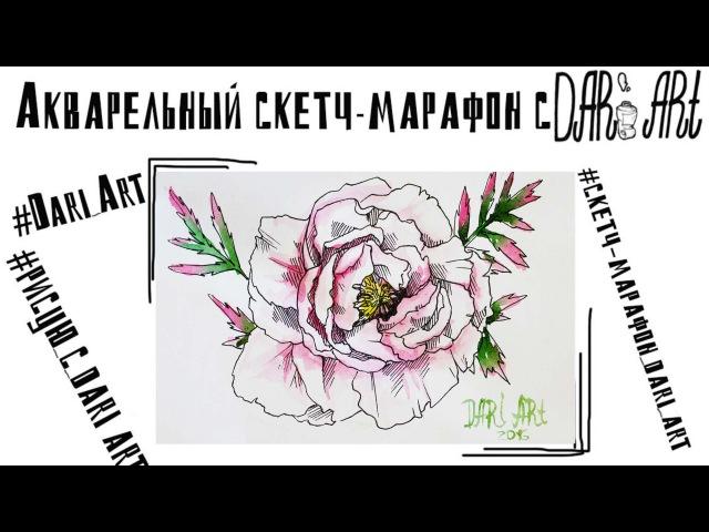 Акварельный скетч марафон с Dari_Art! День№5 Рисуем пион!