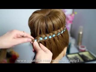 Прическа с плетением - Пучок с косой из 4-х прядей (коса с лентой)