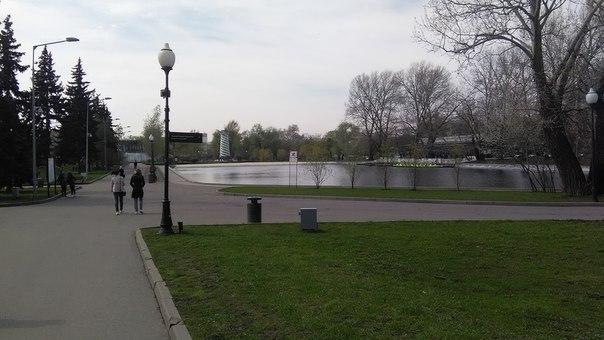 Парк открылся нам небольшим озерцом с большим количеством газона, где приятно отдыхать.  В далеке, между белым маяком и указателем — Академия наук.