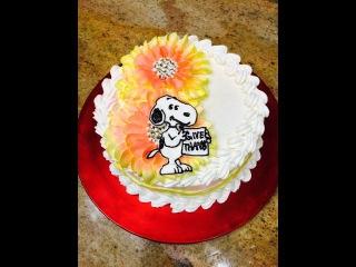 (vk.com/LakomkaVK) Торт Снупи и подсолнухи (кремовый). Snoopy and Sunflowers Thanksgiving Cake- Cake Decorating- Tutorial