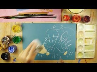 Как нарисовать ёжика - урок рисования для детей 3-4 лет. Дети рисуют ежа поэтапно