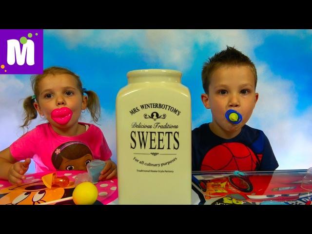 Челлендж 3 секунды много конфет или фрукты с овощами Challenge candy or fruit and vegetables
