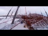 Раздвижная крыша стадиона на Крестовском острове. Подъём и монтаж блоков