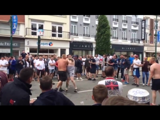 Beer belly fighting between england fans today