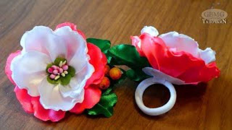 Цветы - Канзаши . Красивая Art резинка для волос. Рукоделие. МК. DIY. Hand Made. Art. Kazashi.
