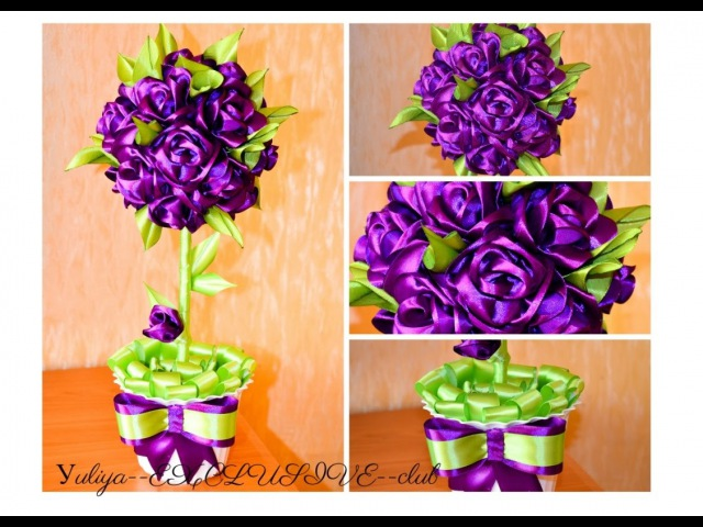 Горшочек с цветком своими руками из атласных лент 61