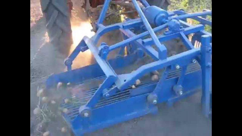 Картофелекопалка 1 однорядная вибрационная тракторная грохотная самодельная