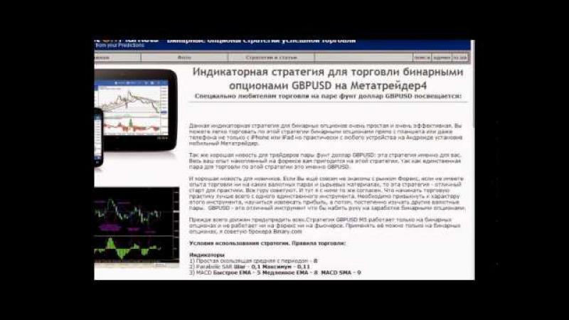 Индикаторная стратегия для торговли бинарными опционами GBPUSD на Метатрейдер 4