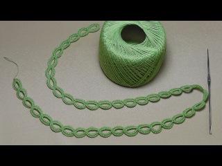 Урок вязания ЛЕНТОЧНОГО КРУЖЕВА - КОЛЕЧКИ - Crochet Simple Lace - как вязать тесьму шнур