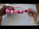 Ободок с цветами канзаши из атласных лент своими руками_ Headband with flowers of satin ribbons