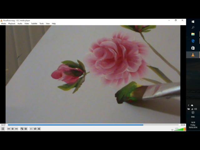 Легко рисуем розы акрилом.Roses in acrylic, one stroke technique.