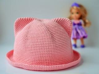 Шляпка с ушками крючком/ Crochet Cat Hat.