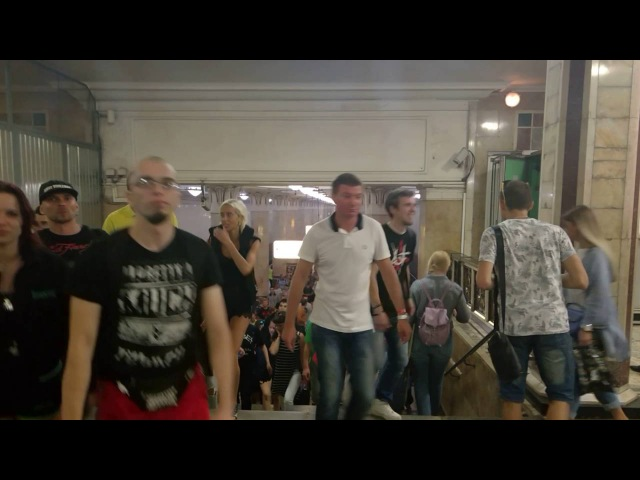 Cruise of Orbital Station visitors afterparty flashmob at Moscow Subway