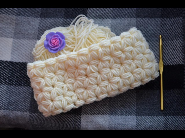 ♥ Шарф Снуд Крючком • Узор Звездочки из Пышных Столбиков • Jasmine Stitch Crochet