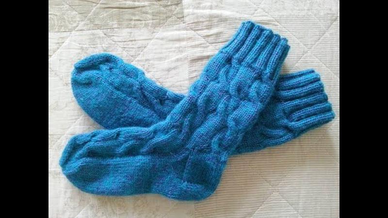 Обалденные вязаные спицами носки с косами и удлиненной голенью Мастер класс Ч