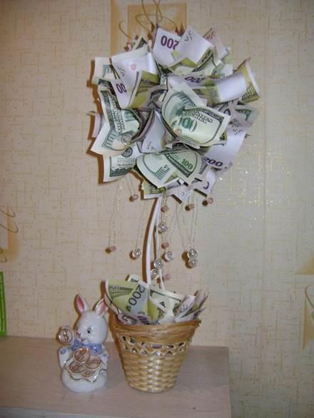 денежное дерево из купюр в подарок