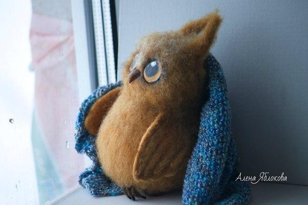 Войлочная игрушка Совенок в ожидании чуда… (1 фото) - картинка