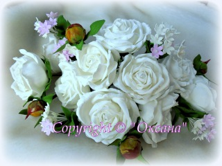 МК белой розы из фоамирана (розочки для веночка)