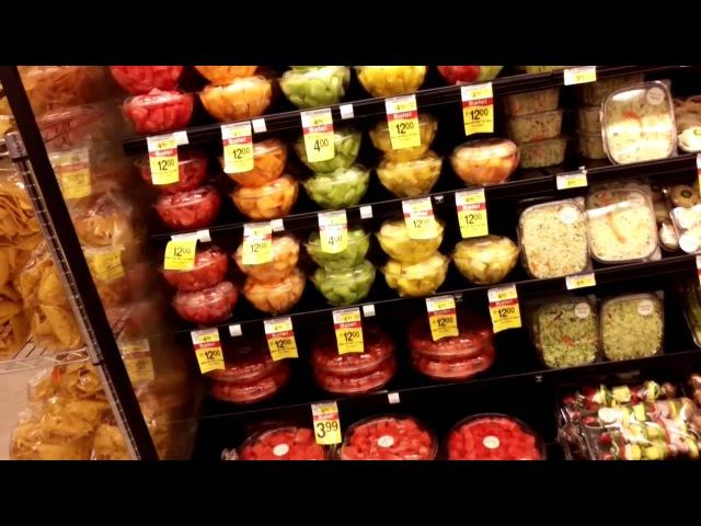 США. Две части видео (ЧАСТЬ ВТОРАЯ ) про продукты из только что открывшегося супермаркета.