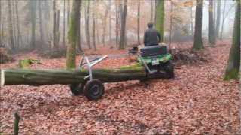ATV mit Rückewagen für Stammholz im Buchenwald