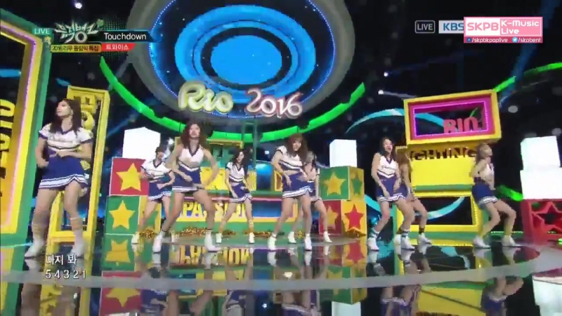 160805 TWICE - Like OOH-AHH Touchdown Cheer Up at Music Bank