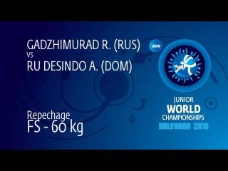 Repechage FS - 60 kg: R. GADZHIMURAD (RUS) df. A. RU DESINDO (DOM), 7-2